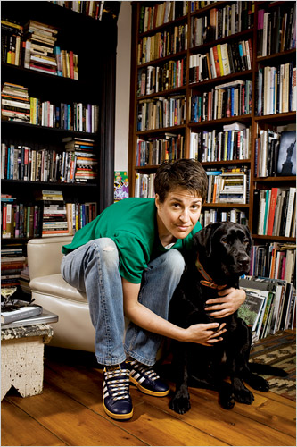 Photo of Rachel Maddow with her dog.